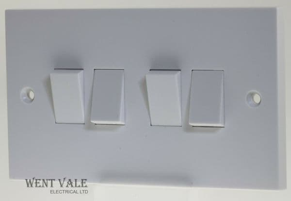 GET Exclusive Square Edge - GSW4G2W - 6a Four Gang, Two Way Plate Switch New